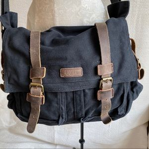 Vintage Leather Canvas Messenger Work Bag Black